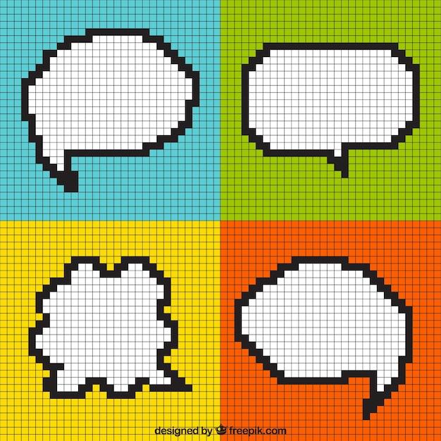 Modernos globos de diálogo pixelados en cuadros de colores Vector Premium