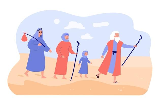 Moisés el profeta guiando al pueblo cristiano a través del desierto. Vector Premium