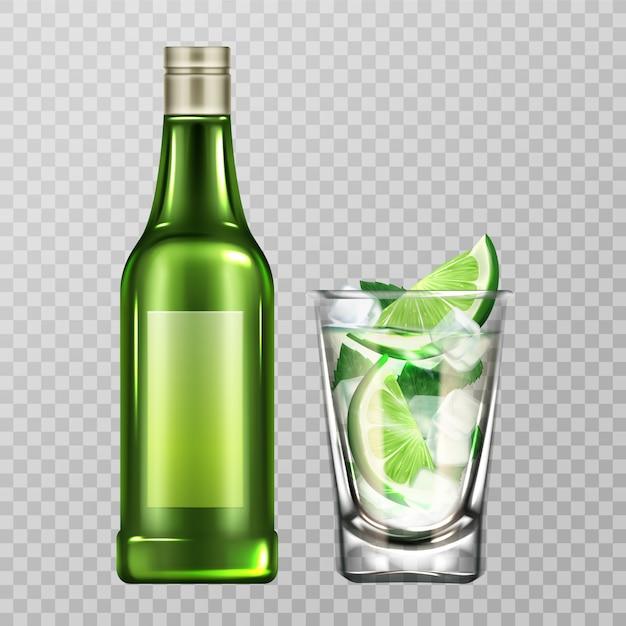 Mojito botella y vaso con licor, lima y hielo vector gratuito