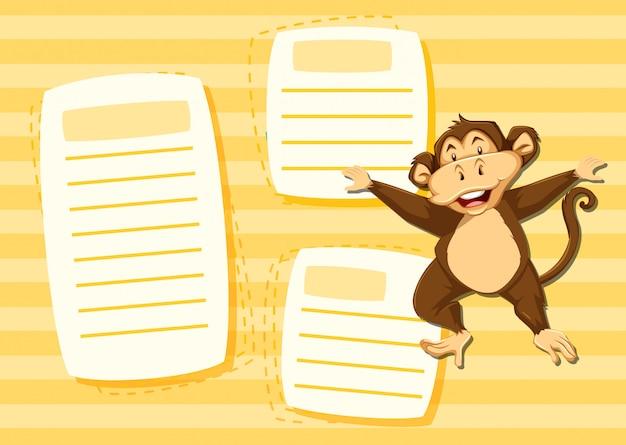 Mokey en plantilla de nota vector gratuito
