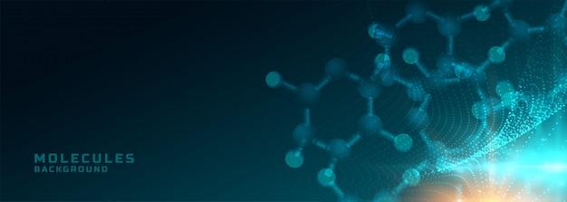 Moléculas estructura ciencia médica y salud fondo bandera vector gratuito