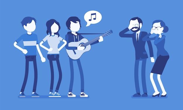 Molesto conflicto musical. grupo de jóvenes con guitarra y personas de mediana edad en tensión con mucho ruido, el canto moderno hace enojar, irritar a los padres. ilustración con personajes sin rostro Vector Premium