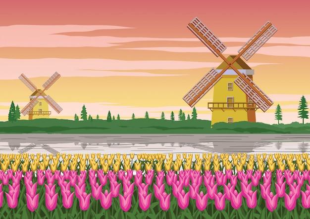 Molino de viento y jardín de tulipanes, famoso símbolo de holanda Vector Premium