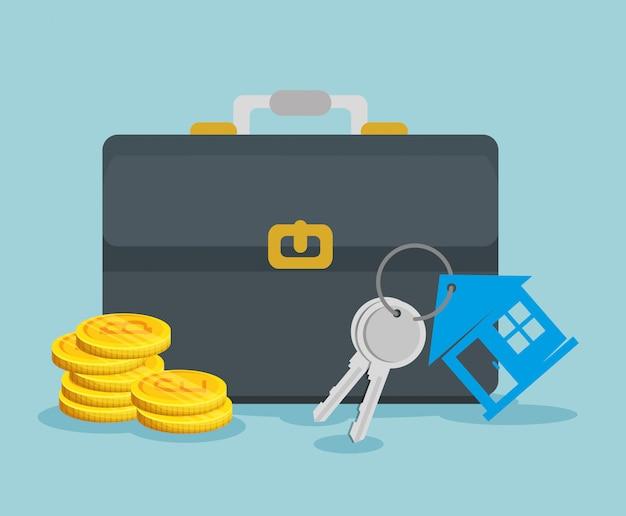 Moneda bitcoin con maletín y llaves de la casa vector gratuito