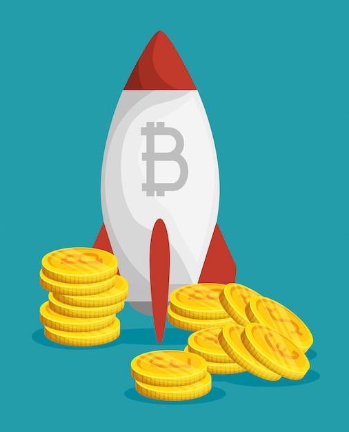 Moneda financiera digital de bitcoin con cohete vector gratuito