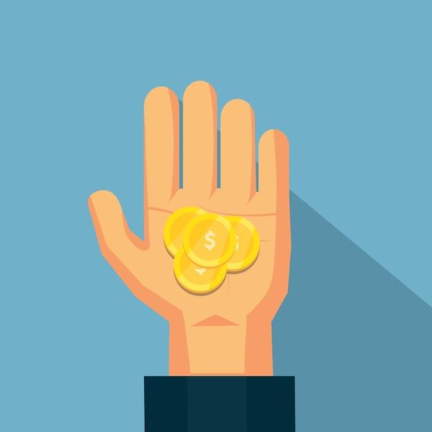 La moneda en la mano Vector Premium