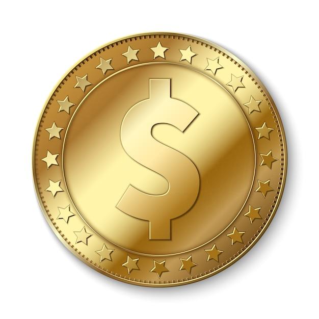 Moneda realista del vector del dólar del oro 3d aislada en blanco. símbolo de abundancia de efectivo Vector Premium