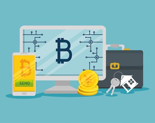 Moneda virtual de bitcoin en la computadora y el teléfono inteligente vector gratuito