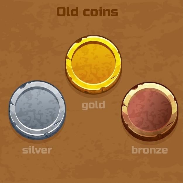 Monedas antiguas de oro, plata y bronce. Vector Premium