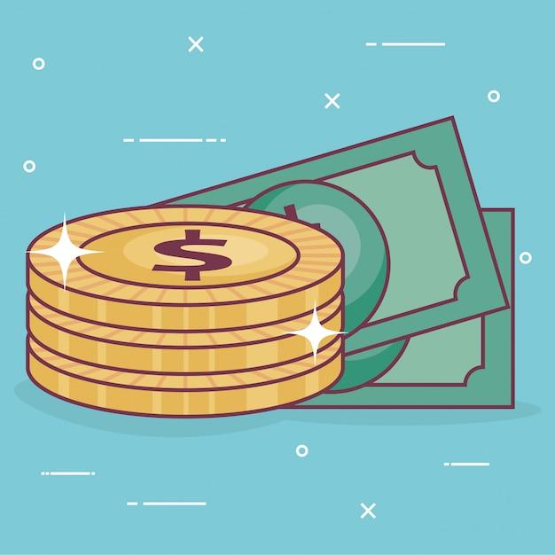 Monedas de dinero con billetes vector gratuito