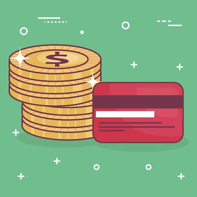 Monedas de dinero con tarjeta de crédito vector gratuito