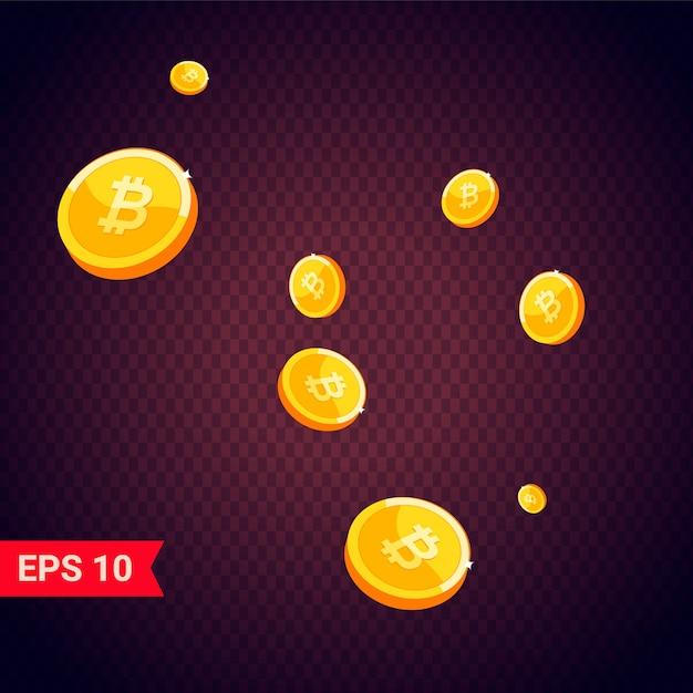 Monedas de oro bitcoin cayendo 3d realistas Vector Premium