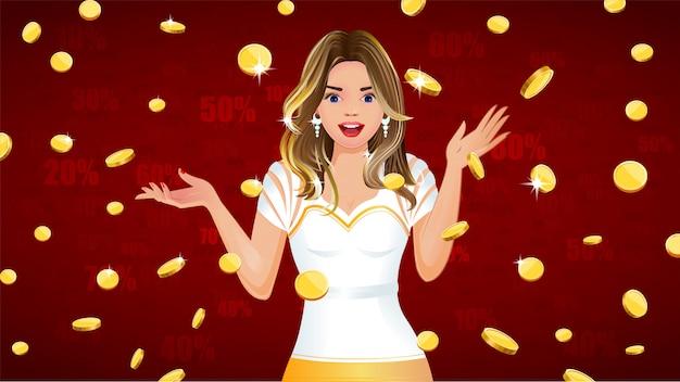 Monedas de oro cayendo con niña sorprendida Vector Premium