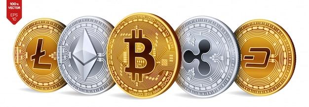Monedas de oro y plata con bitcoin, ripple, ethereum, dash y litecoin. criptomoneda Vector Premium
