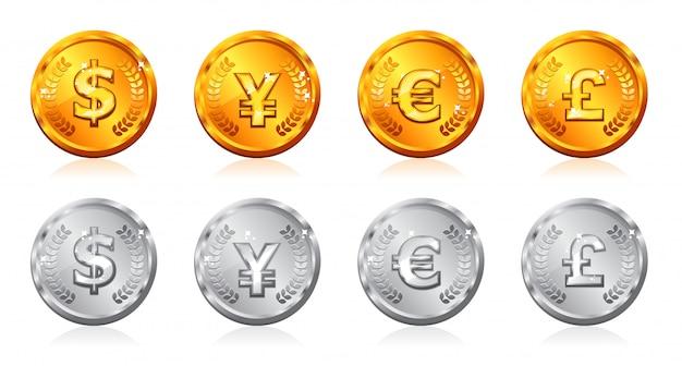 Monedas de oro y plata con muchas monedas Vector Premium