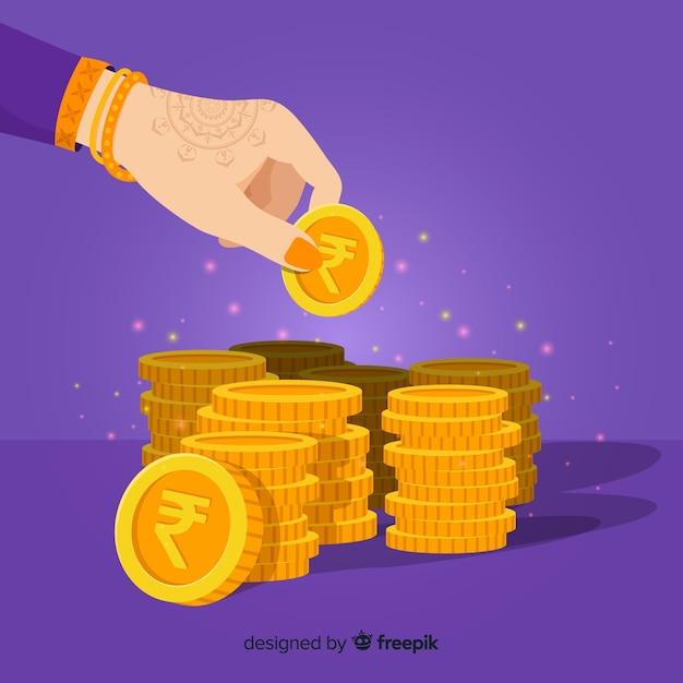 Monedas de oro de rupia india apiladas vector gratuito