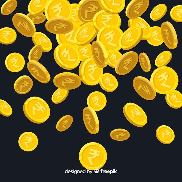 Monedas de rupias indias cayendo vector gratuito
