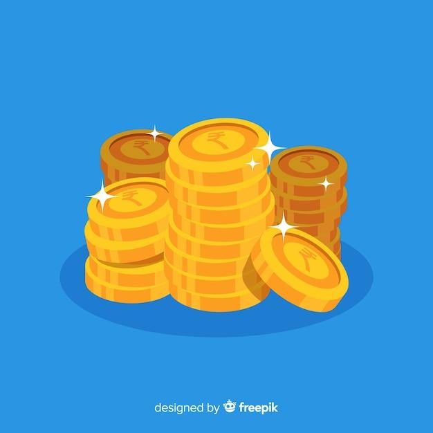 Monedas de rupias indias doradas y apiladas vector gratuito