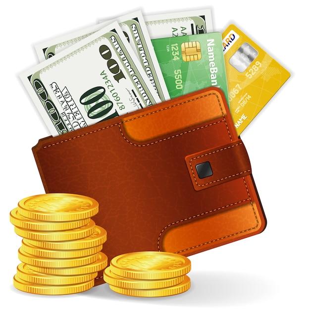Monedero con dólares, tarjetas de crédito y monedas Vector Premium