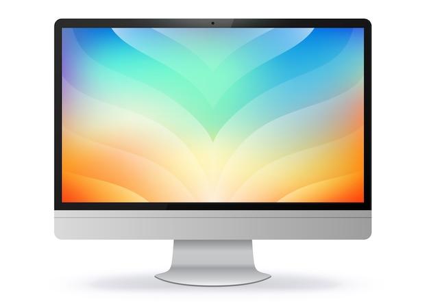Monitor de computadora con pantalla abstracta de colores Vector Premium