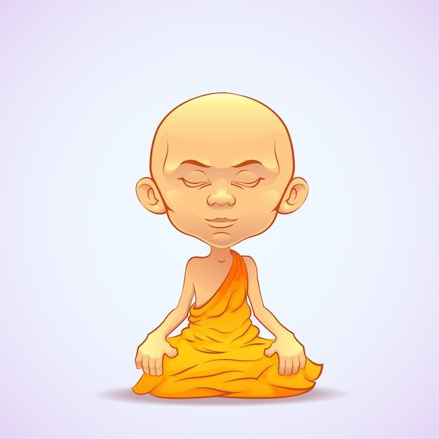 Monje budista meditando Vector Premium