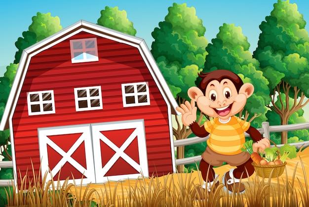 Mono feliz en la casa de la granja vector gratuito