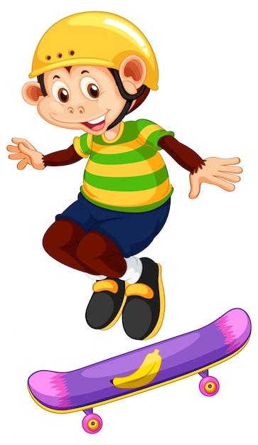 Mono feliz jugando skate vector gratuito