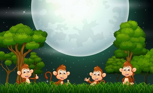 Mono feliz en el paisaje de la naturaleza Vector Premium