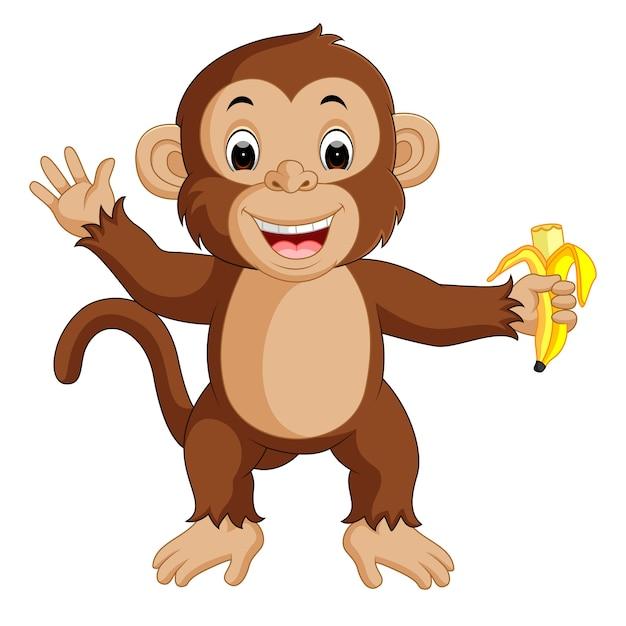 Mono lindo de dibujos animados comiendo plátano | Descargar