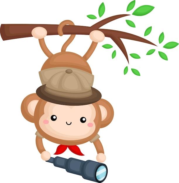 Un mono lindo con un disfraz de guardabosques de safari mientras cuelga de una rama vector gratuito