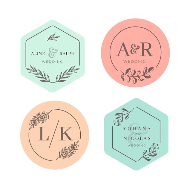 Monogramas de boda en colores pastel vector gratuito