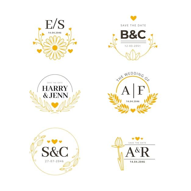 Monogramas florales de boda Vector Premium