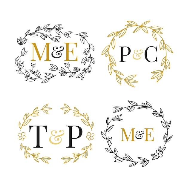 Monogramas florales de boda vector gratuito