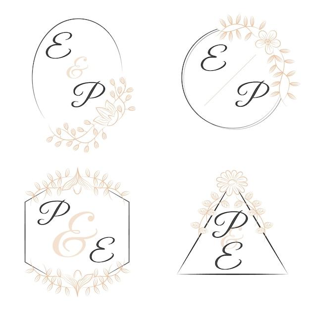 Monogramas florales de lujo para bodas vector gratuito
