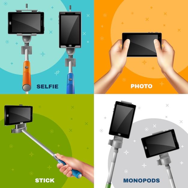 Monopod selfie design concept vector gratuito