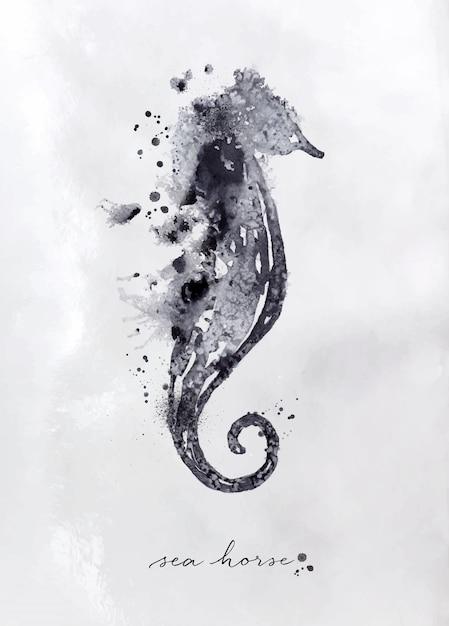 Monotipo de caballito de mar con dibujo en blanco y negro sobre papel. Vector Premium