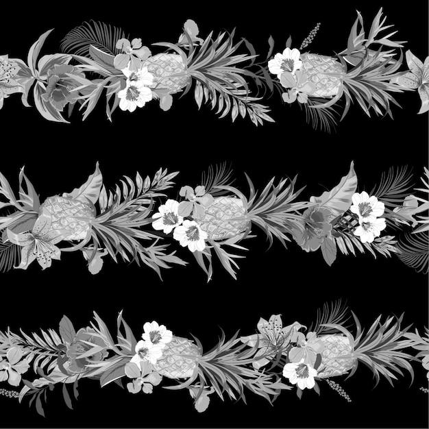 Monótono bosque tropical exótico negro y gris con flores florecientes de verano Vector Premium