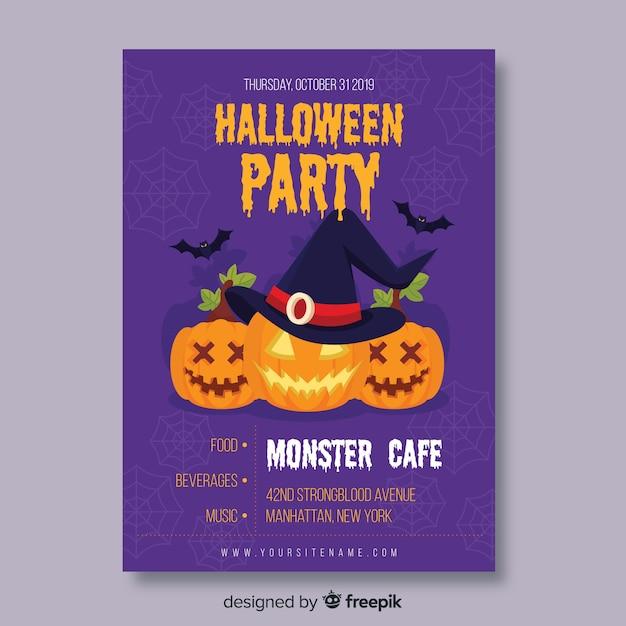 Monster cafe con cartel plano de calabazas vector gratuito