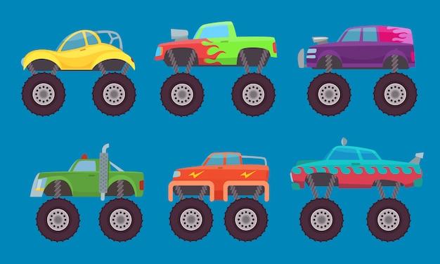 Monster truck cars, automóviles con ruedas grandes criatura auto toy para niños aislados Vector Premium