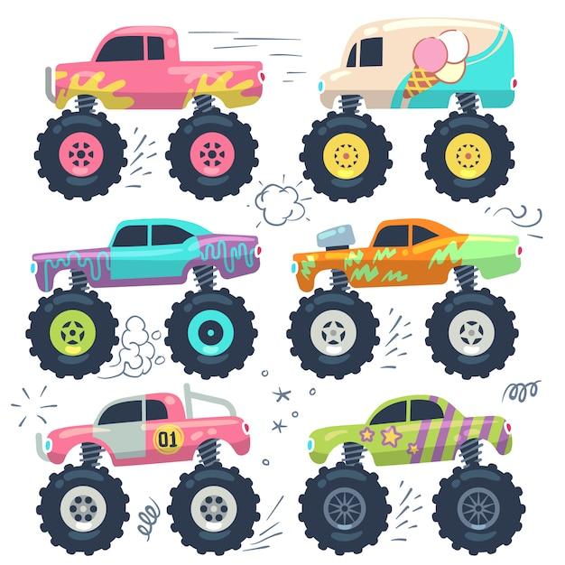 Monster truck juguetes para niños. conjunto de dibujos animados Vector Premium