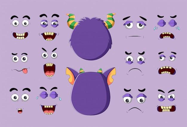 Monstruo y caras diferentes con emociones Vector Premium