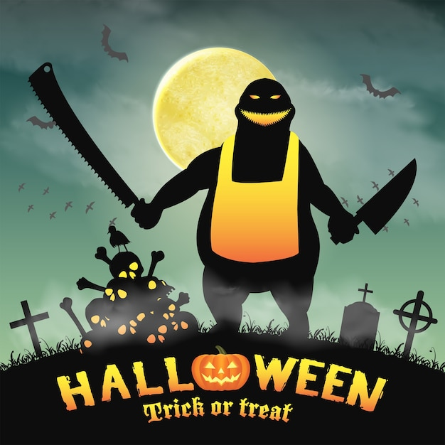 9b28ff112296a Monstruo de carnicero de halloween en un cementerio nocturno ...