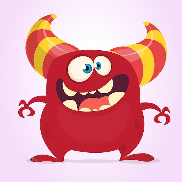 Monstruo de divertidos dibujos animados con cuernos Vector Premium