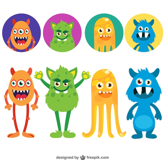 Monstruos divertidos avatares Vector Gratis