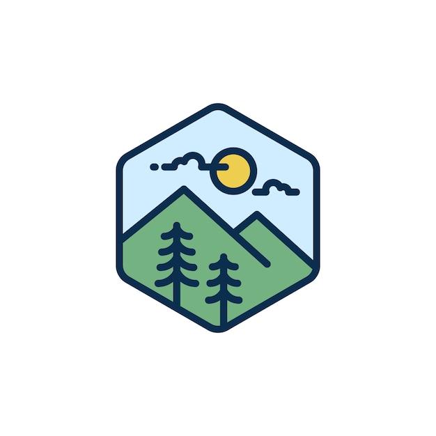 Montaña, hipster aventura viajando logo. Vector Premium
