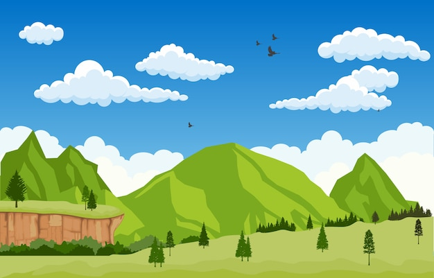 Montaña valle cliff tree naturaleza paisaje vector illustration Vector Premium