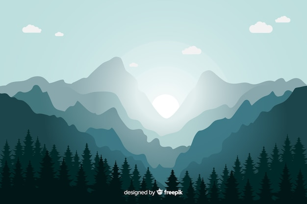 Montañas azules paisaje amanecer vector gratuito