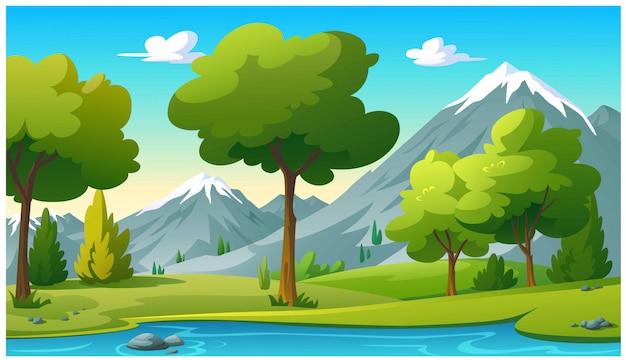 Montañas y cielo brillante en la mañana. Vector Premium