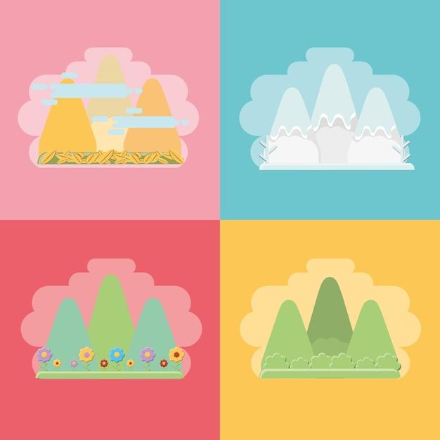 Montañas con los efectos de los climas estacionales Vector Premium