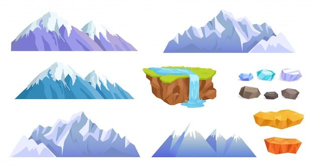 Montañas con tapas de nieve, piedras de acantilado, cascada Vector Premium